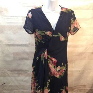 NWOT Boutique Navy Wrap Dress Floral SMALL